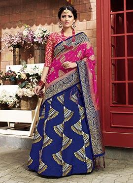 Blue Art Benarasi Silk A Line Lehenga