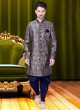 Blue Art Benarasi Silk Achkan Sherwani