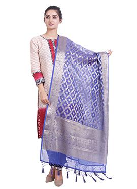 Blue Art Benarasi Silk Dupatta