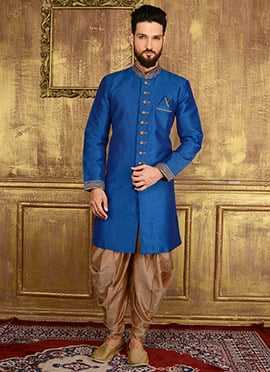 Blue Art Benarasi Silk Indowestern Sherwani