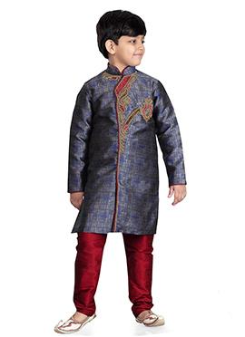 Blue Art Benarasi Silk Kids Kurta Pyjama
