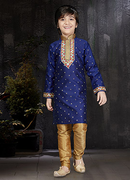 Blue Art Benarasi Silk Kids Kurta Pyjama