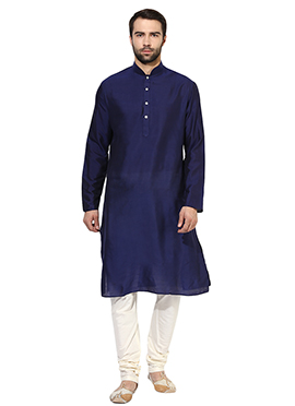Blue Art Benarasi Silk Kurta