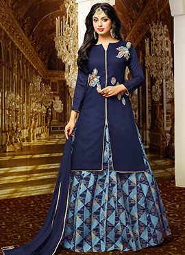 Blue Art Benarasi Silk Long Choli Lehenga