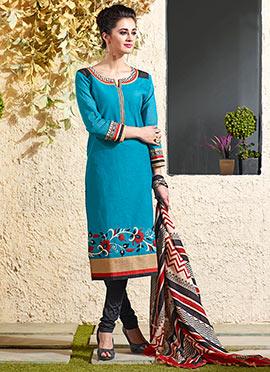 Blue Art Chanderi Silk Cotton Churidar Suit