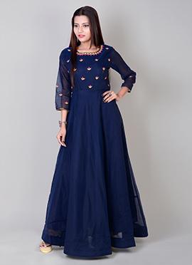 Blue Art Chanderi Silk Gown