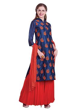 Blue Art Chanderi Silk Sharara Suit