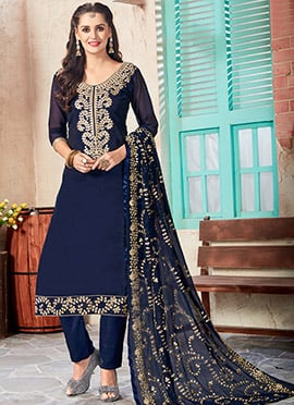 Blue Art Chanderi Silk Straight Pant Suit