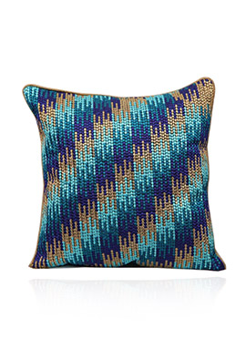Blue Art Dupion Silk Cushion Cover