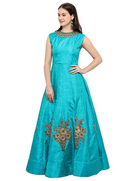 Blue Art Dupion Silk Gown