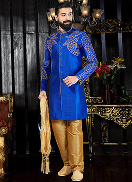 Blue Art Dupion Silk Indo western kurta Pyjama