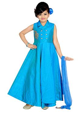 Blue Art Dupion Silk Kids Gown