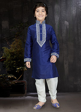 Blue Art Dupion Silk Kids Kurta Pyjama