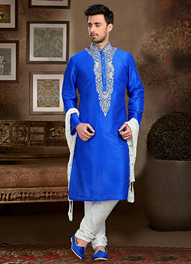 Royal Blue Art Dupion Silk Kurta Pyjama