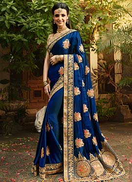 Sanaya Irani Blue Art Benarasi Silk Saree