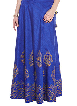 Blue Art Dupion Silk Skirt
