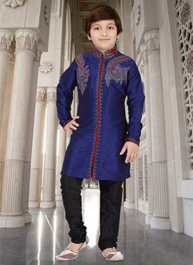 Blue Art Dupion Silk Teens Kurta Pyjama