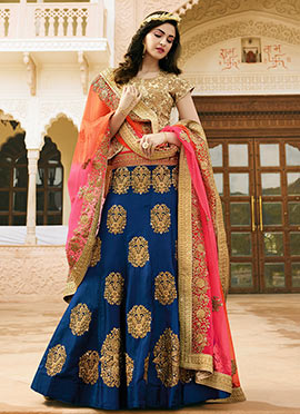 Blue Art Dupion Silk Umbrella Lehenga