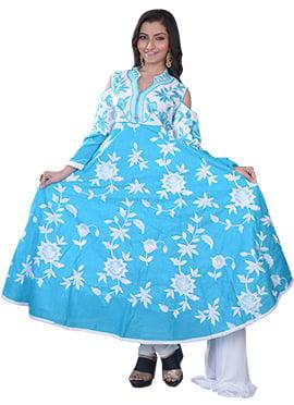 Blue Art Raw Silk Anarkali Suit