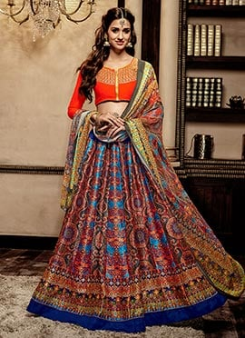 Blue Art Silk A Line Lehenga Choli