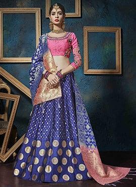Blue Art Silk A Line Lehenga