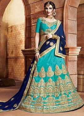 Blue Art Silk A Line Lehenga