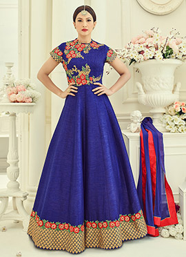 Gauhar Khan Blue Abaya Style Anarkali Suit