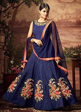 Blue Art Silk Abaya Style Anarkali Suit