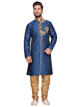 Blue Art Silk Achkan Sherwani
