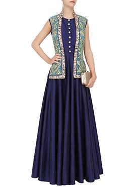 Blue Art Silk Anarkali Gown