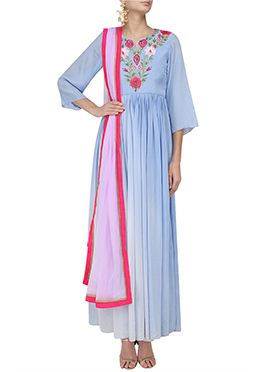 Blue Art Silk Anarkali Suit