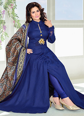 Blue Art Silk Anarkali Suit