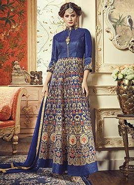 Blue Art Silk Ankle Length Anarkali Suit