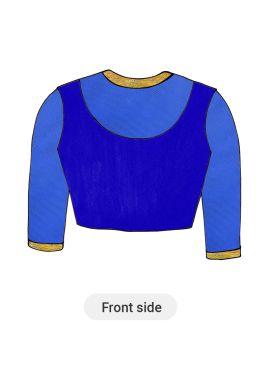 Blue Art Silk Blouse with Net Sleeve