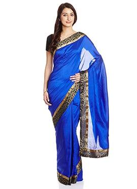 Blue Art Silk Border Saree