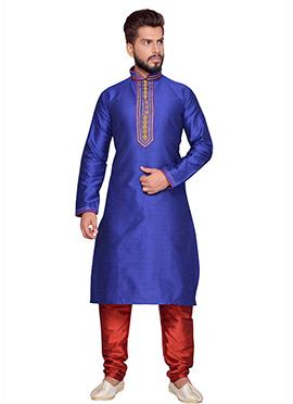 Blue Art Silk Brocade Kurta Pyjama