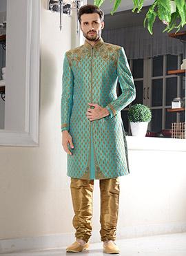 Blue Art Silk Chipkan Sherwani
