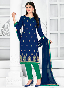 Blue Art Silk Churidar Suit