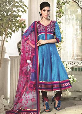 Blue Art Silk Cotton Anarkali Suit