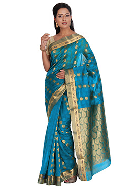 Blue Art Silk Cotton Saree