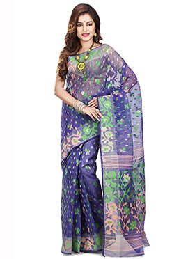 Blue Art Silk Cotton Saree