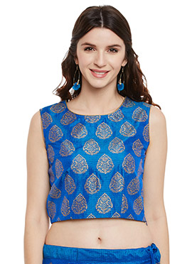 Studiorasa Blue Art Silk Crop Top