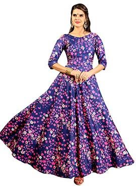 Blue Art Silk Gown