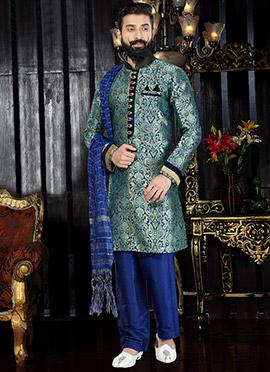 Blue Art Silk Indo western kurta Pyjama