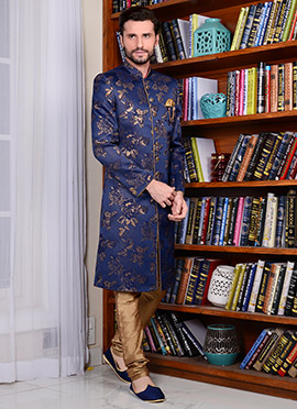 Blue Art Silk Indowestern Sherwani