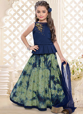 Blue Art Silk Kids A Line Lehenga