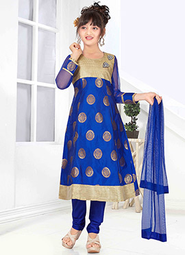 Blue Art Silk Kids Anarkali Suit
