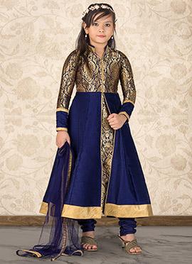 Blue Art Silk Kids Anarkali Suit