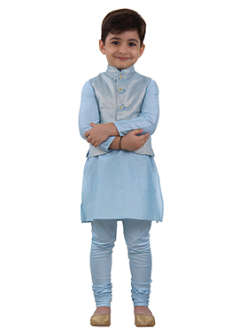 Blue Art Silk Kids Bandi Set