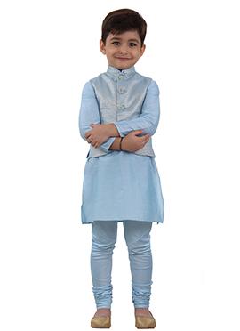 Blue Art Silk Kids Bandi Set